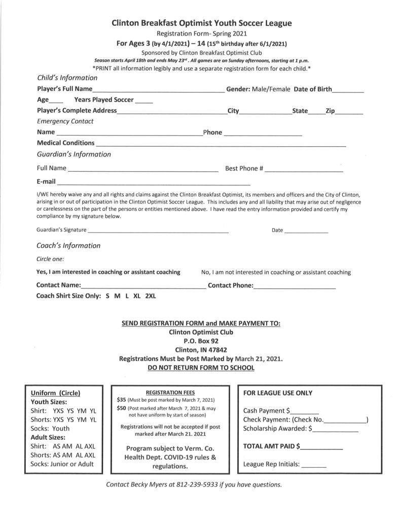 Clinton Optimist Soccer League Information