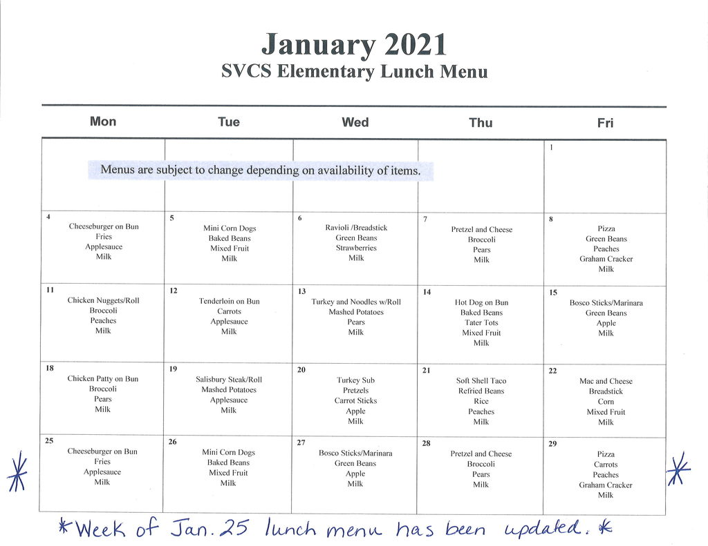Updated Jan. 2021 Lunch Menu